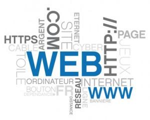 internet, texte et mots clef sur le thème du web